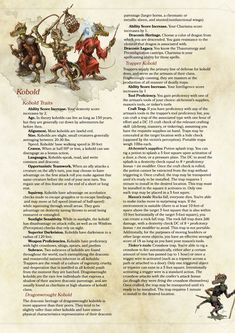 DnD Homebrew (Search results for: Kobold) Dungeons And Dragons Races, Dungeons And Dragons Classes, Dnd Dragons, Dungeons And Dragons Homebrew, Weird Creatures, Fantasy Creatures, Mythical Creatures, 5e Races, Science Fiction