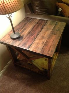End Table Ideas diy crate end table Rustic X End Table