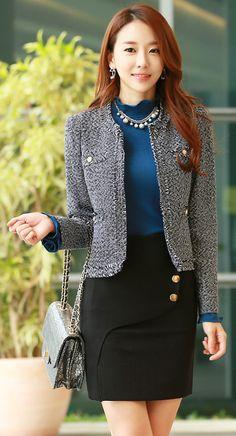 StyleOnme_Gold Button Wrap Style Skirt #frontslit #blackskirt #koreanfashion #chic #falltrend #autumnlook #formal #feminine #seoul #kstyle