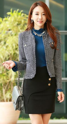 StyleOnme_Gold Button Wrap Style Skirt