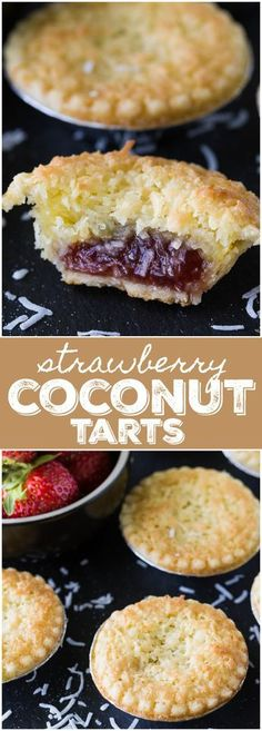 Strawberry Coconut Tarts – Sweet and super simple to make. This old-fashioned re… Strawberry Coconut Tarts – Sweet and super simple to make. This old-fashioned recipe has stood the test of time for good reasons. Coconut Recipes, Tart Recipes, Baking Recipes, Sweet Recipes, Dessert Recipes, Coconut Desserts, Party Food Desserts, Good Recipes, Baking Snacks