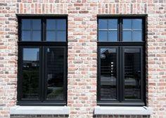Shared by www. House Windows, Facade House, Windows And Doors, Black Windows, Black Window Frames, Casa Loft, Glass Extension, Dutch House, Interior Windows