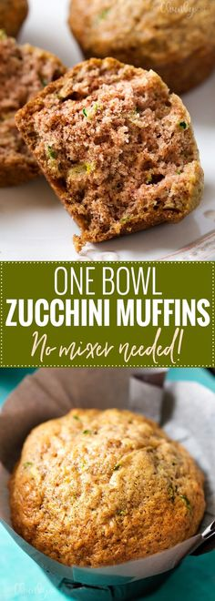 One Bowl Zucchini Muffins - These zucchini muffins are made with everyday ingredients, in one bowl, and with NO mixer needed! Perfect for breakfast or an afternoon snack! Morning Glory Muffins, Zucchini Muffin Recipes, Healthy Zuchinni Muffins, Zucchini Bread, Banana Zucchini Muffins, Zuchinni Recipes, Shredded Zucchini Recipes, Vegetarian Muffins, Healthy Muffins For Kids