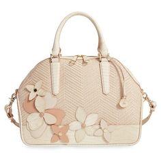 Brahmin 'Hudson' Floral Embellished Woven Satchel (16,430 PHP) ❤ liked on Polyvore featuring bags, handbags, crme miramonte, pink tote purse, brahmin handbags, tote handbags, satchel purse и crossbody tote