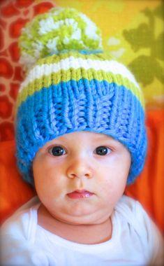 Striped Baby Beanie, Striped Baby Hat, Blue Green White Striped Baby Hat, Striped Toddler or Kids Hat With Big Pom Pom, Very Soft & Warm Baby Hat Knitting Pattern, Hand Knitting, Knitting Patterns, Kids Beanies, Kids Hats, White Beanies, Baby Beanie Hats, Knitting Accessories, Baby Boy Newborn