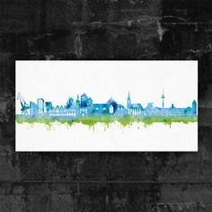 Münster Skyline Blue - Kunstdruck auf Leinwand (div. Größen) Street Art Graffiti   eBay