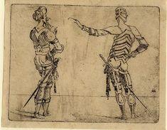 Giovanni Battista Braccelli: Bizzarie di varie figure ... 1624. Plate 8: two armed figures