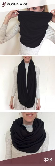 """American Apparel Black Circle Infinity Scarf Unisex New American Apparel Black Cotton Infinity Circle Scarf Burning Head Man Wrap  American Apparel's classic, versatile Circle Scarf. Approximately 50"""" (127cm) in total length  Circumference: 56"""" (142.2cm) - 70"""" (177.8cm) depending on fabric content  Can be used as an infinity scarf, head scarf, hijab, dust mask or shawl! Medium-heavy weight and warm! I believe it's 100% Cotton, if not mostly cotton. Fabric content not listed.  Great for…"""