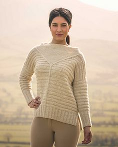 Aran weight ribbed sweater knitting pattern. Binsey by Fiona Alice knit in The Fibre Co. Arranmore.