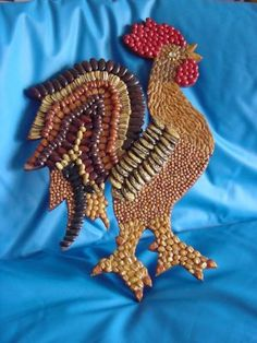 Seed Mosaic Rooster chicken figure Seed picture crop art seed craft No. Rock Crafts, Arts And Crafts, Seed Craft, Fun Craft, Crop Pictures, Christmas Craft Fair, Recycled Art Projects, Chicken Art, Mosaic Diy