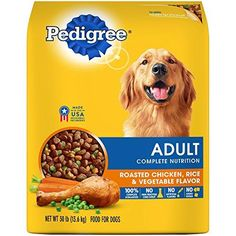 dog food recipes, Pedigree Adult Dry Dog Food - Roasted Chicken, Rice & Vegetable Flavor, Complete and balanced nutrition provides optimal levels of fatty acid to nourish skin, and help keep your dogs coat shiny and Roast Chicken And Rice, Chicken Rice, Chicken And Vegetables, Roasted Vegetables, Roasted Chicken, Grilled Veggies, Grilled Meat, Roasted Potatoes, Complete Nutrition