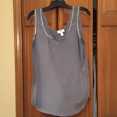 Slate blue/gray silk beaded top LOFT 100% silk top with silvery beading. Super soft and pretty in person. Runs small through the chest. Worn once. LOFT Tops