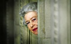 Queen Elizabeth II behind door number three.