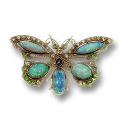 Hand-crafted, 18k Yellow Gold with Opal, Sapphire, Demantoid Garnet & Diamond Pin from the Turn of the Century