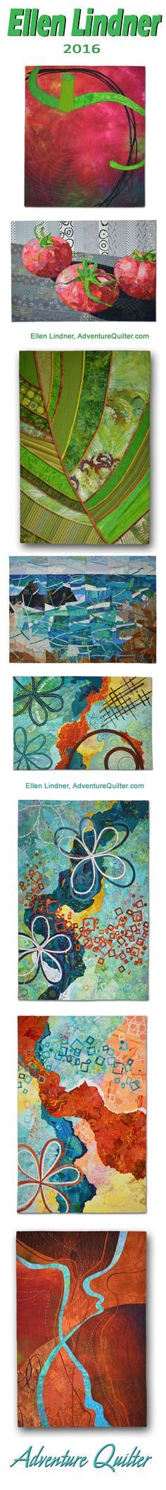 Some of Ellen Lindner's fabric collages from 2016.  See more at AdventureQuilter.com