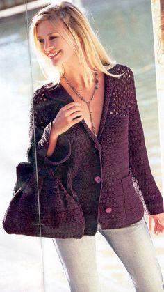 Veronica crochet y tricot. Crochet Jacket, Crochet Cardigan, Knit Crochet, Crochet Fashion, Knitting Designs, Crochet Clothes, Pretty Outfits, Blazer, Couture