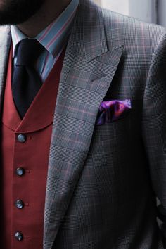 Cad and the Dandy bespoke three piece fancy check with red contrast waistcoat.  www.cadandthedandy.co.uk