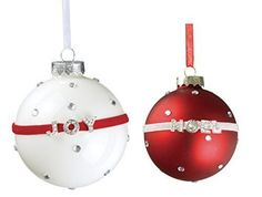 "Sullivans - Red and White ""JOY"" & ""NOEL"" Glass Ball Ornaments"