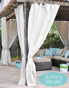 One Day Outdoor Room Makeover diy grommet top outdoor curtains Diy Pergola, Pergola Curtains, Pergola Ideas, Outdoor Curtains For Patio, Patio Ideas, Pergola Roof, Curtains On Porch, Outdoor Balcony, Patio Roof
