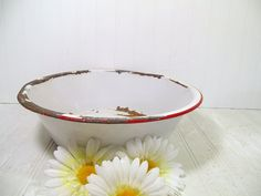 Antique Red on White EnamelWare Round Metal Basin  by DivineOrders