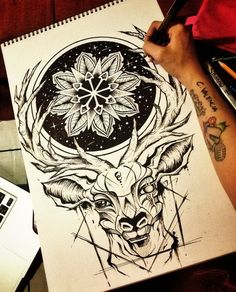 Deer Mandala by camsy Tattoo Sketches, Tattoo Drawings, Art Drawings, Stag Tattoo, Raven Tattoo, Tattoo Ink, Arm Tattoo, Cervo Tattoo, Animal Tattoos