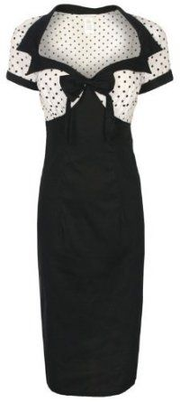 Lindy Bop 'Laney' Chic Vintage 50's Style Black Bengaline Pencil Wiggle Dress,