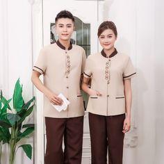 Staff Uniforms, Uniform Shirts, Men In Uniform, Waiter Uniform, Hotel Uniform, Restaurant Uniforms, Uniform Design, Summer Stripes, Coffee Colour