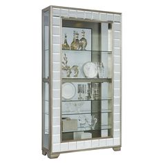 Platinum Finish Mirrored Front Side Door Entry Curio Cabinet