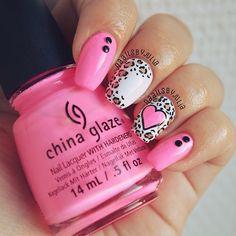 Cute pink love nails