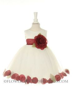 For Marley: Girls Dress Style 1170- Choice of White or Ivory Dress with Burgundy  and Flower $39.99.  Free shipping!!!