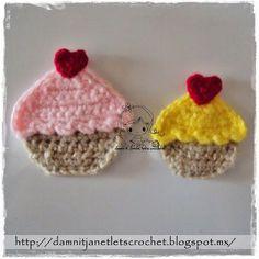 Cupcake Applique Motif By Janet Carrillo - Free Crochet Pattern - (damnitjanetletscrochet.blogspot)