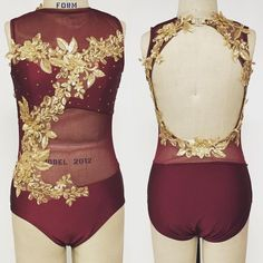 Adult medium bodysuit with contrasting gold applique.  #customdancecostume #dancecostume #bodysuit