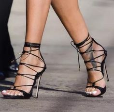 Eunice Choo Sexy Ankle Strap Cross-tied High Heels Sandals Black Embossed  Leather Pumps Lace Up Summer Women Party Shoes d9fd7c1e3eec
