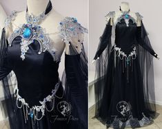 💎Shadow Sapphire Gown💎 We created this shadowy fantasy gown for The Labyrinth Masquerade Ball. Silver lace adorns black satin along the bust and hips. The filigree shoulder armor and necklace are gemmed with sapphire jewels dripping with silver chains. Cosplay Outfits, Dress Outfits, Prom Dresses, Fashion Outfits, Pretty Outfits, Pretty Dresses, Beautiful Dresses, Fantasy Gowns, Fairy Dress