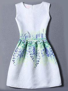 Vestido+sin+manga+flor+jacquard+-multicolor+12.97