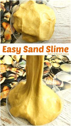 This Sand Slime is easy to make and kids love it, Homemade Sand Slime Recipe, How to Make Sand Slime, Sand Slime with Borax, Jiggly Slime Recipe for a Beach Theme, Ocean Theme or any summer theme activity, DIY Sand Slime for Summer Science #slime #slimerecipe #sandslime #scienceforkids #beachtheme #beachslime #kidsactivities #sensoryplay