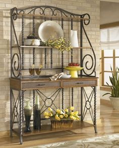 A Bakers rack is one piece of furniture that has a long history. Usually, a bakers rack is highly ornamental, with scrolls and flourishes on the back and sides. Iron Furniture, Kitchen Furniture, Kitchen Decor, Furniture Cleaning, Furniture Direct, Rack Design, Küchen Design, House Design, Design Ideas