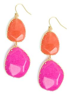 REVEL: Color-Block Drop Earrings, bridesmaid gift, modern wedding, color brights, orange, pink