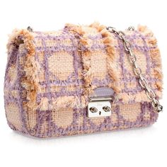 MISS DIOR Pinky beige tweed 'Miss Dior' bag with contrasting lilac... ❤ liked on Polyvore featuring bags, handbags, accessories, dior bag, purses, tweed handbags, chain purse, hand bags, christian dior bags and chain handbags
