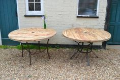 Lawn and Garden Tools Basics Pair Of Large Reclaimed Cable Reel Dining Tables Large Wooden Spools, Wooden Cable Spools, Wire Spool, Wood Spool Tables, Cable Spool Tables, Handmade Furniture, Diy Furniture, Dining Table Redo, Wooden Cable Reel