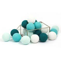 Lichterkette Cotton Balls 20 Lichter mint/türkis/weiß