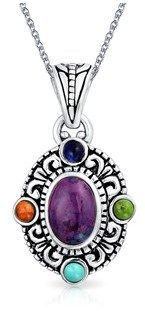 Bling Jewelry Multi Stone Aztec Style Pendant Sterling Silver Necklace 18 Inches.