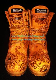 Etsy listing!  Pyrographed work boots, women, size 7