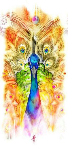 A really bright peacock tattoo idea.