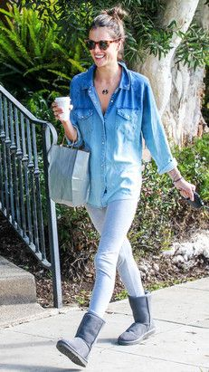 d69acbda3b4fa Alessandra Ambrosio in Denim-Shirt and Ugg Boots Ugg Boots Outfit, Denim  Outfit,