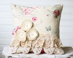Pearl Rose Vintage Lace Pillow