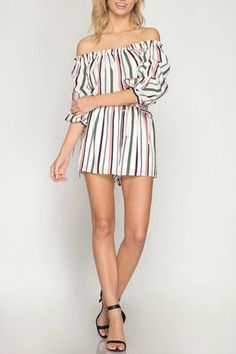 bd59b3a39cf7 She + Sky Off-Shoulder Striped Romper - Main Image Spring New