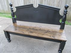 Make a bench out of a headboard - no link but a picture is worth a thousand words, right?
