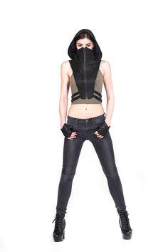 NINJA KOMBAT HOOD Techwear Crop Top Vest in Jet Black Canvas Burning Man, Leather Bra, Leather Harness, Cropped Tops, Steampunk, Ninja, Biker, Streetwear, Black Lightning