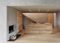 concrete and wood interior - Google Search